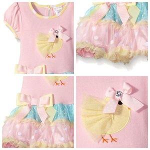 Sweet Heart Rose Matching Sets - Girls Easter Chick Tier Tutu Dress Legging Set New